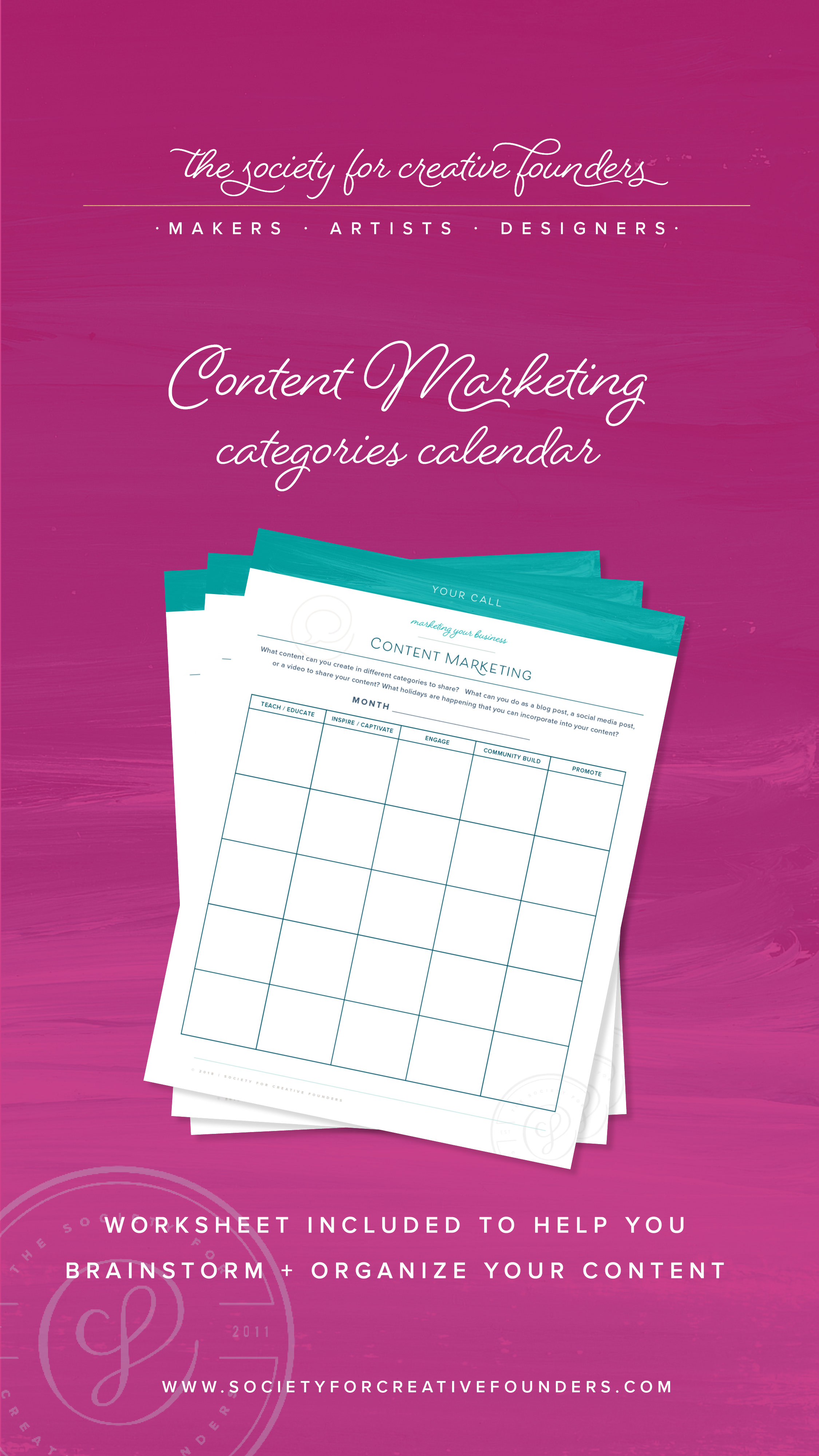 Free Content Marketing Categories Calendar by Society for Creative Founders