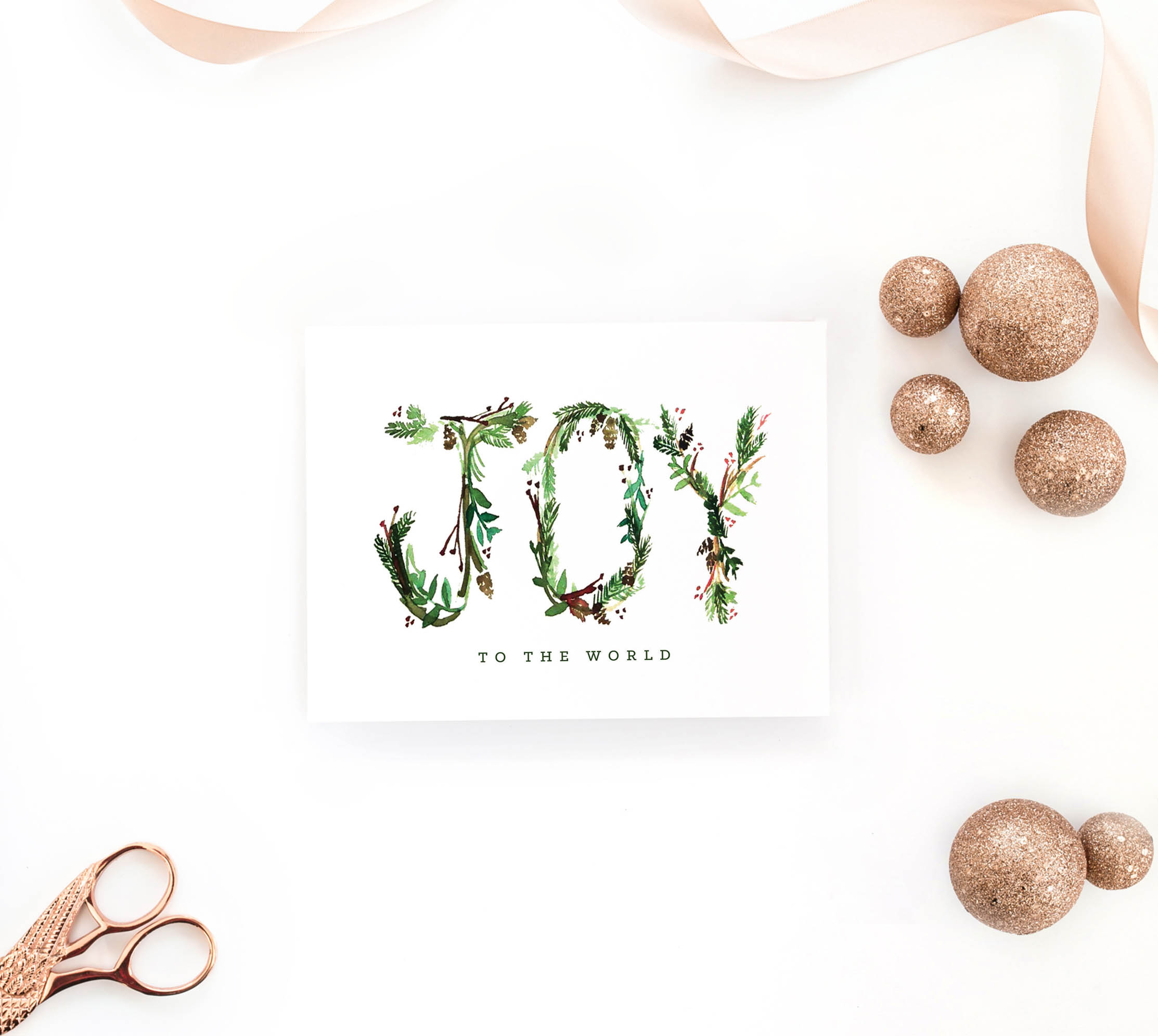 Joy to the World Floral Card by LinaLulu Paperie