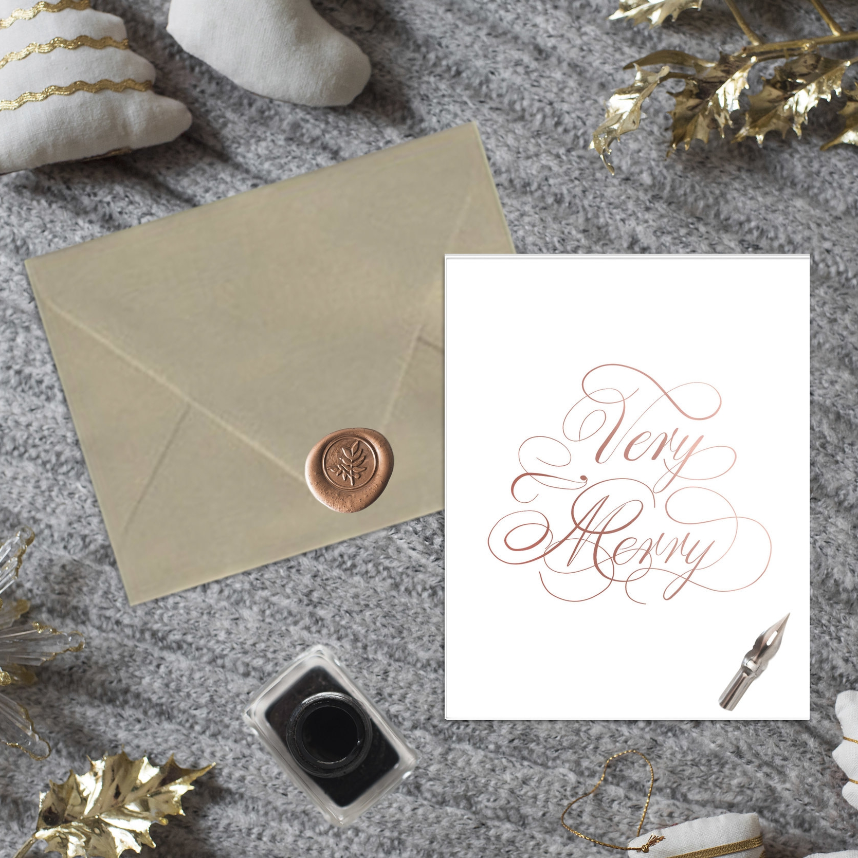 Very Merry Rose Gold Cards - JesSmith Designs