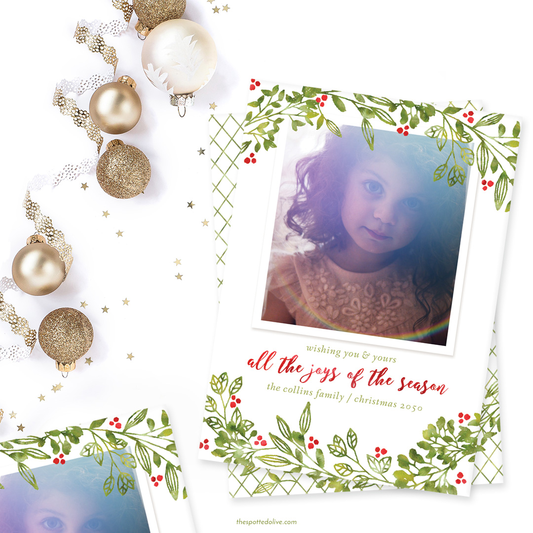 Personalized Leafy Joys Custom Holiday Cards - The Spotted Olive