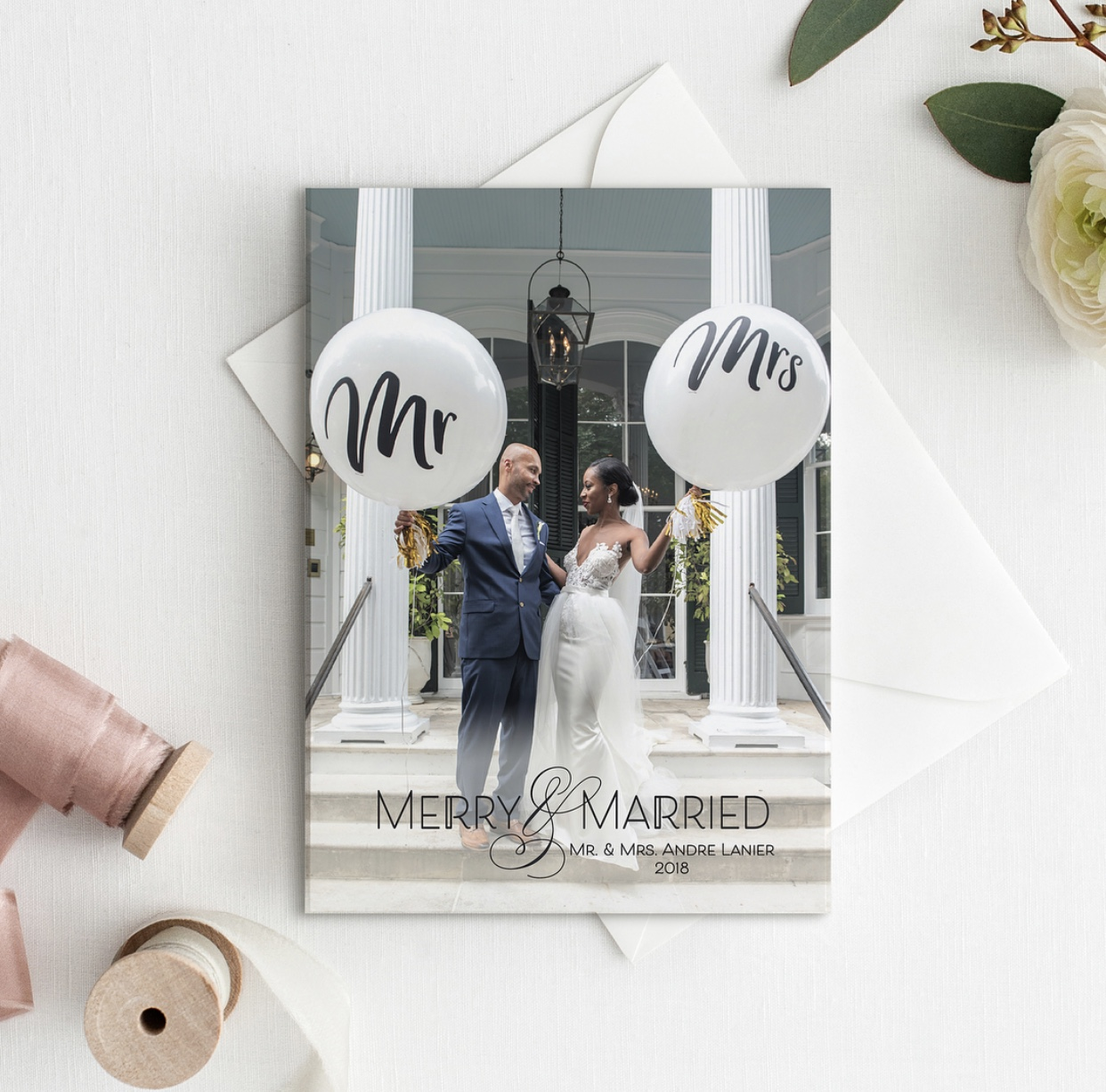 Merry + Married Custom Holiday Cards - Open Invitation Stationery Boutique