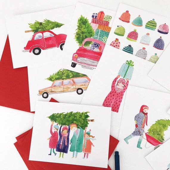 Watercolor Holiday Cards - Clever Mama