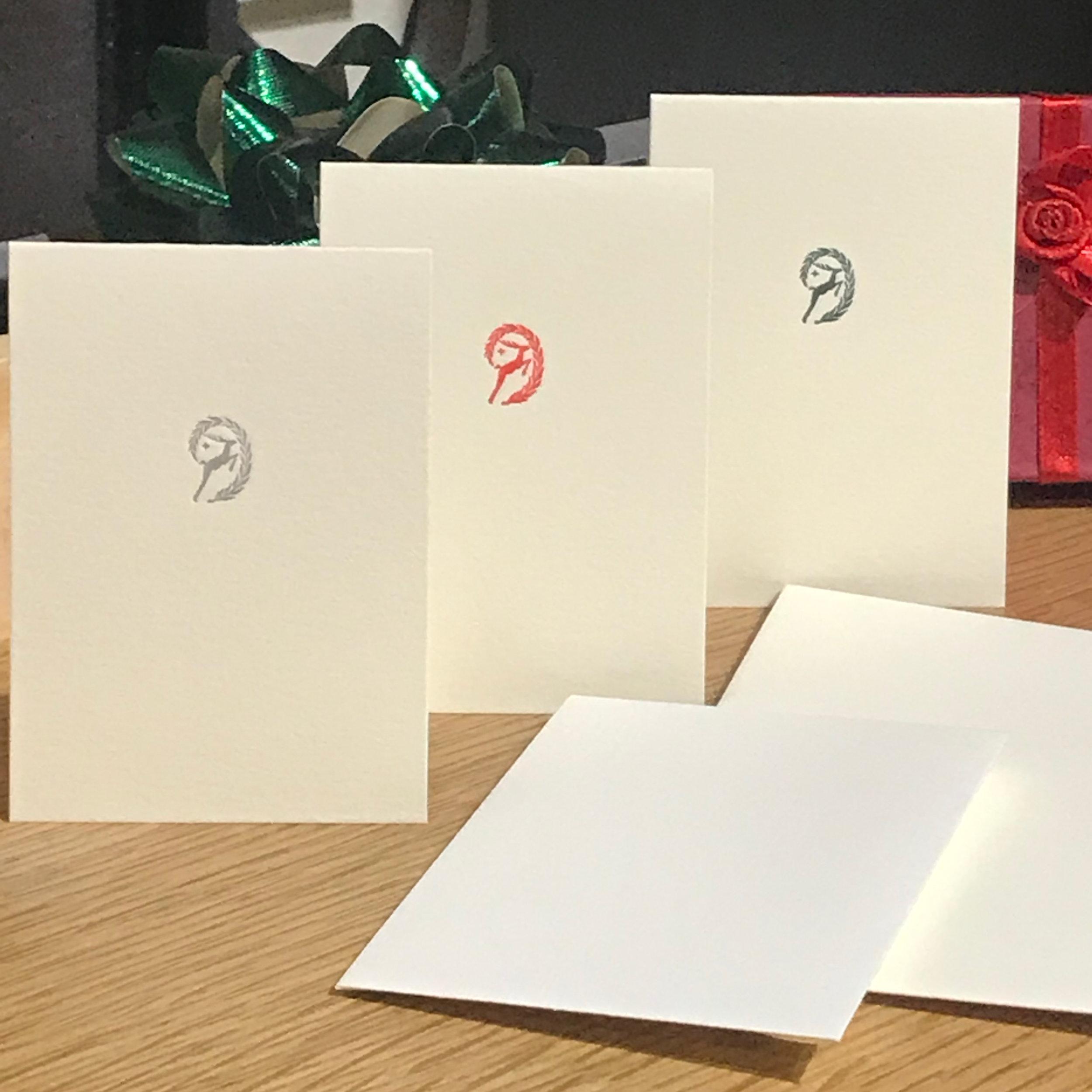 Letterpress Reindeer Mini Cards - Lisa M. Payne Studio