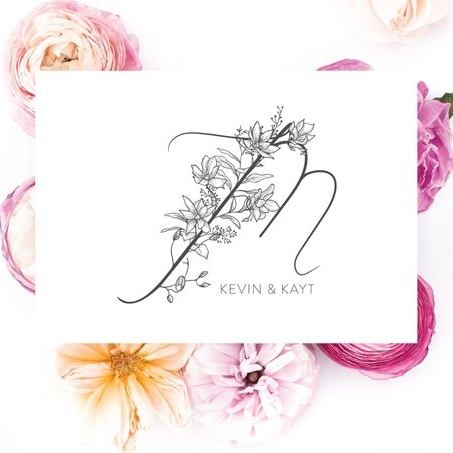 Personal Stationery Floral Monogram Set - Invited by LaMa Works