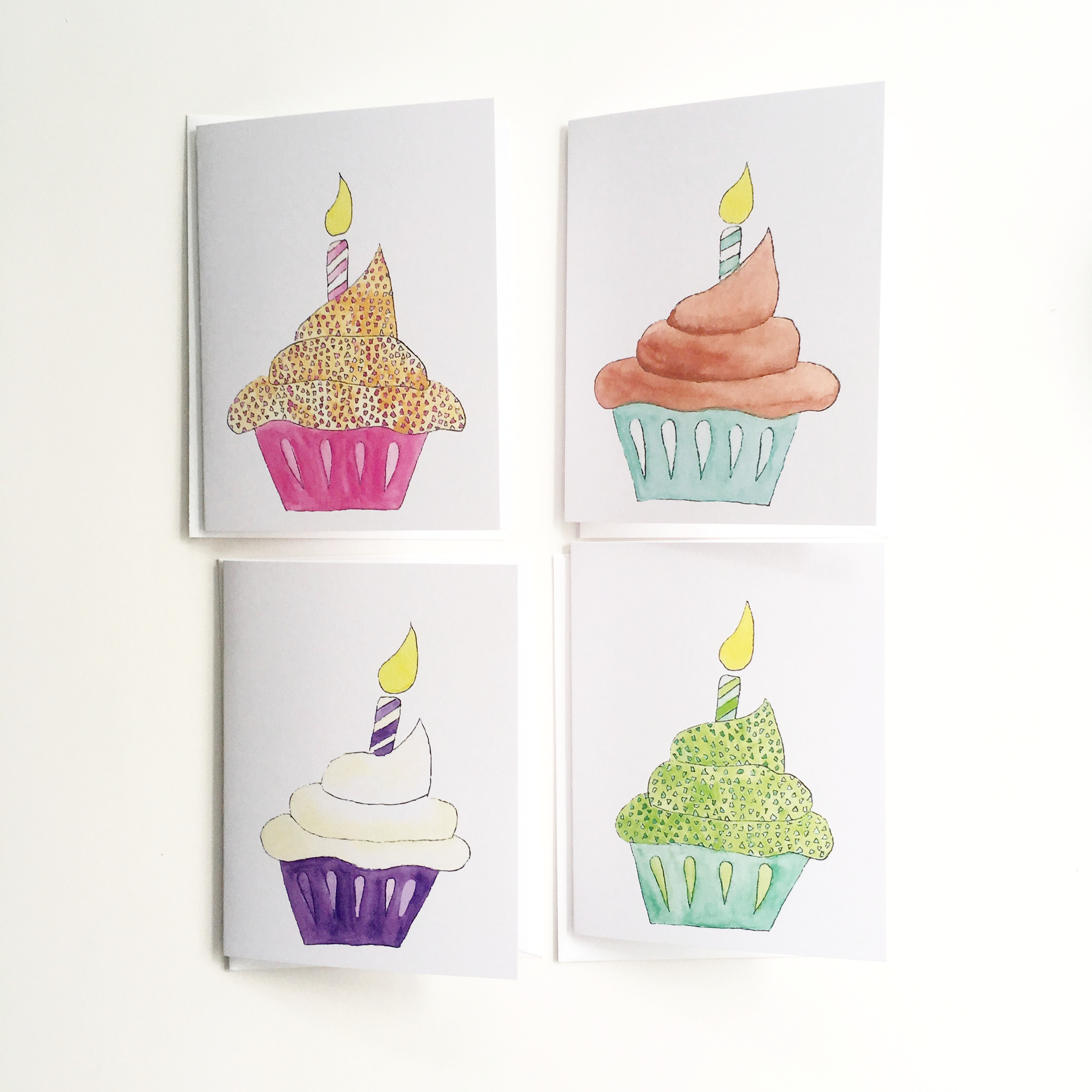 Cupcake Stationery Set - Aqua Opal Studio