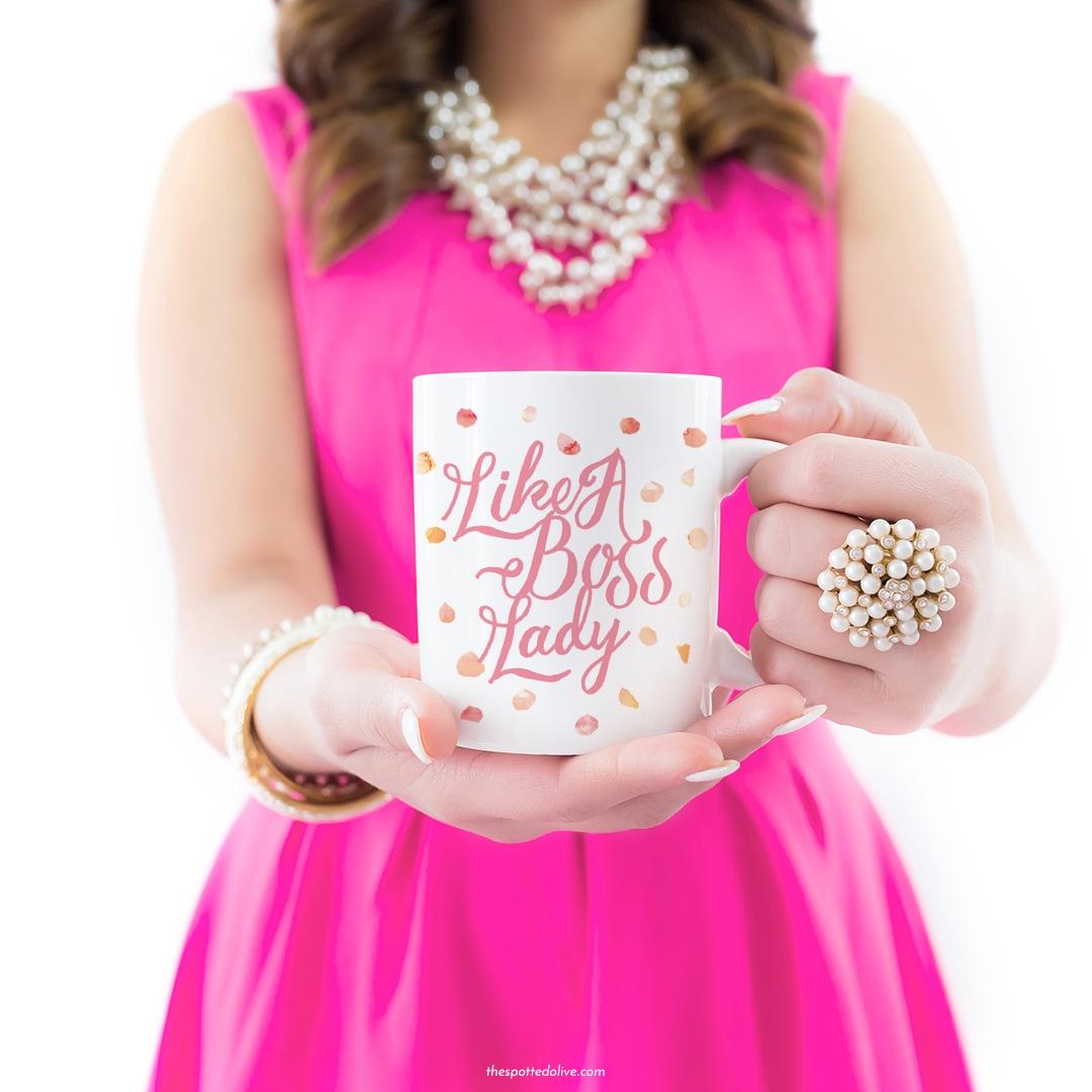 Like A Boss Lady Coffee Mug - Spotted Olive