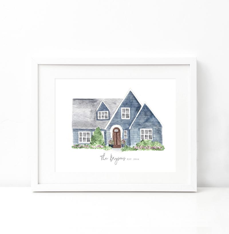 Custom Watercolor Home Painting - Beloved Paper