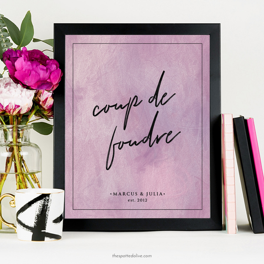 Coupe De Foudre Personalized Art Print - The Spotted Olive