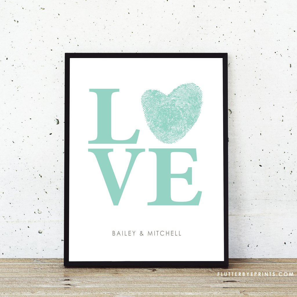 Personalized Love Fingerprint Wedding Guestbook Alternative - FlutterBye Prints