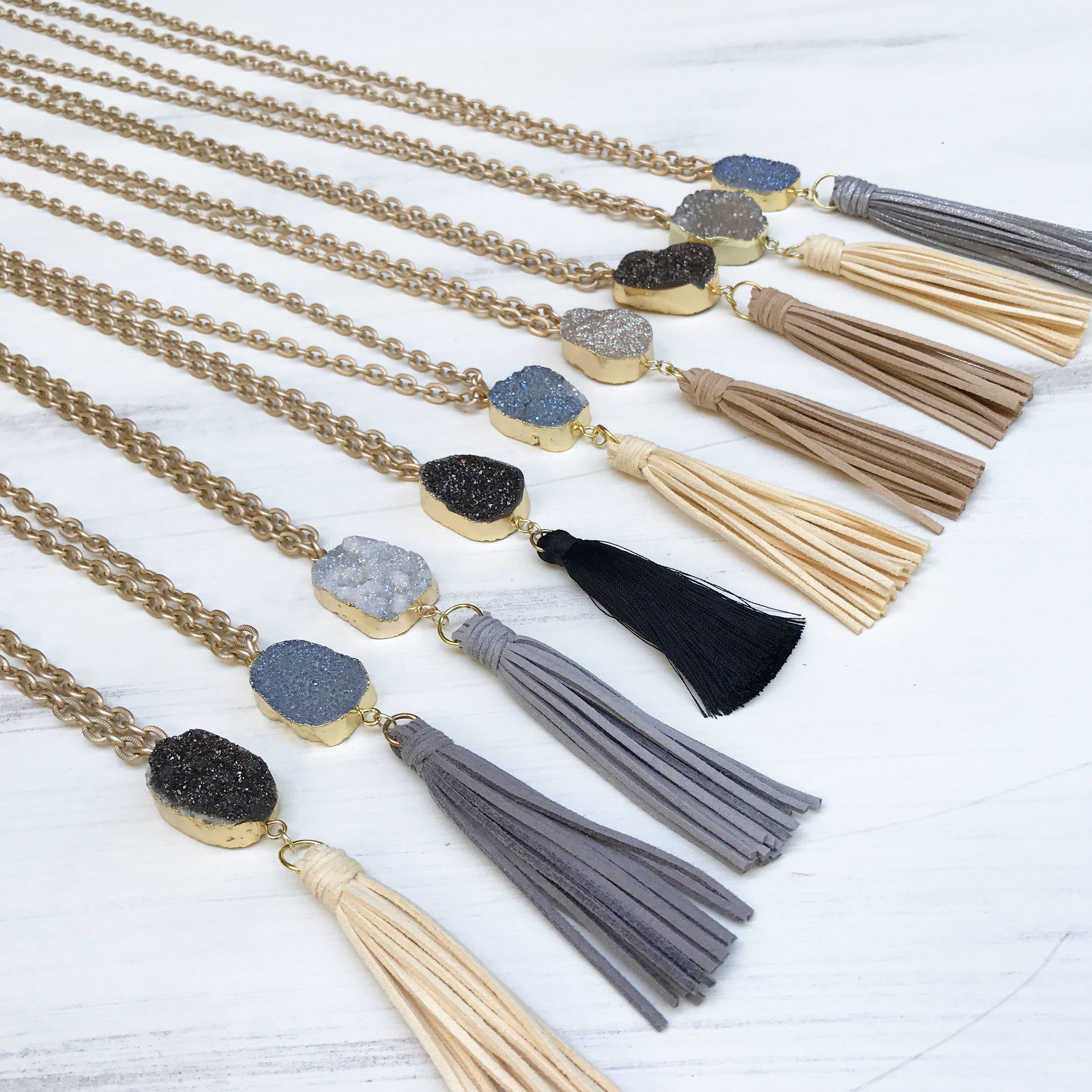 Chain Tassel Druzy Necklace - A.M. Jewels