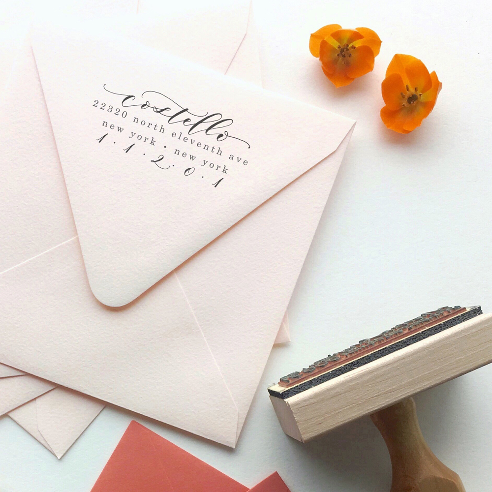 Customizable Calligraphy Address Stamp - Angelique Ink