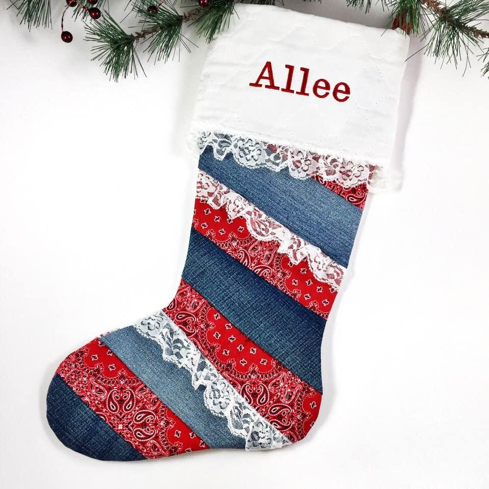 Denim Country Christmas Stocking - Maddie B's Creations