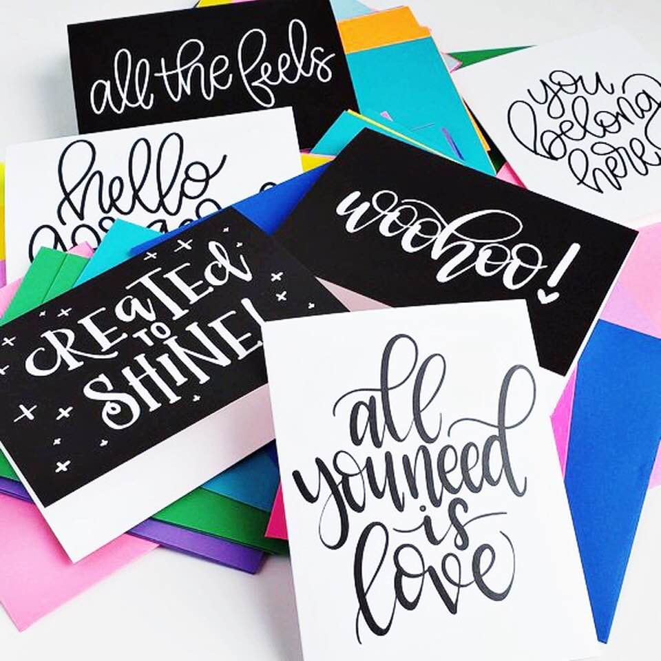 Black and White Handlettered Cards by Shawna Clingerman