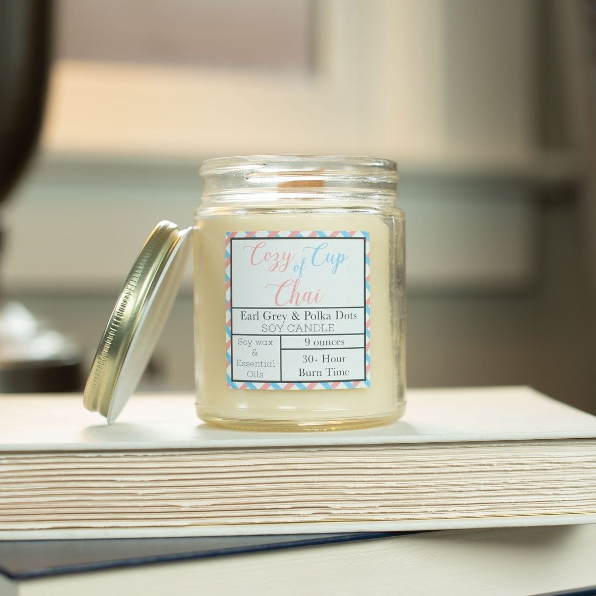 Cozy Cup of Chai Candle - Earl Grey and Polka Dots