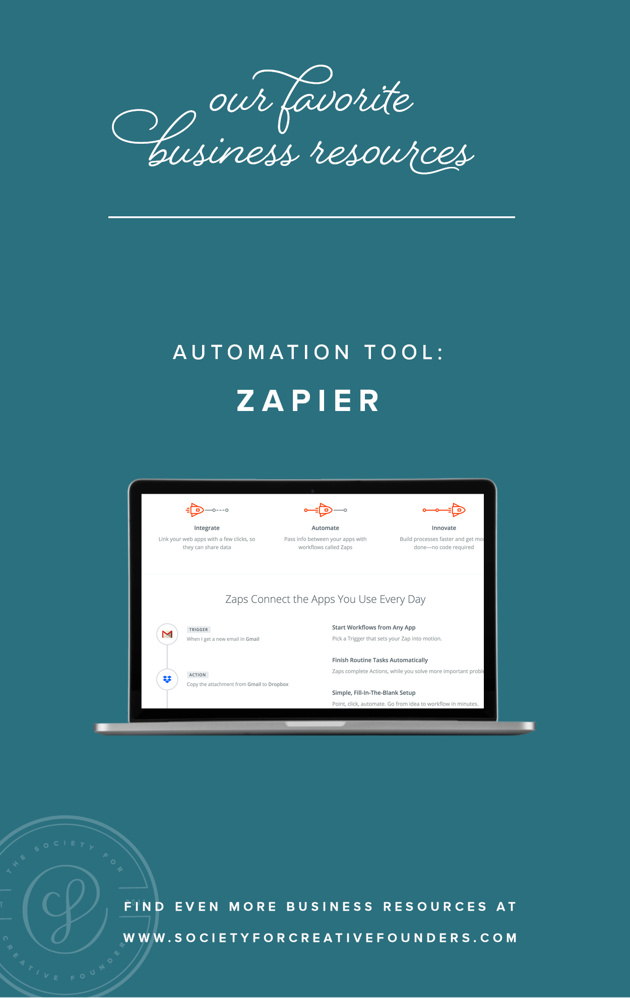 Automation with Zapier  - Favorite Business Resources from Society for Creative Founders