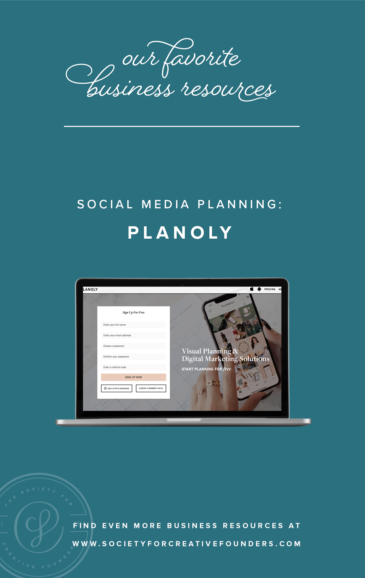 Social MEdia Planning with Planoly - Favorite Business Resources from Society for Creative Founders