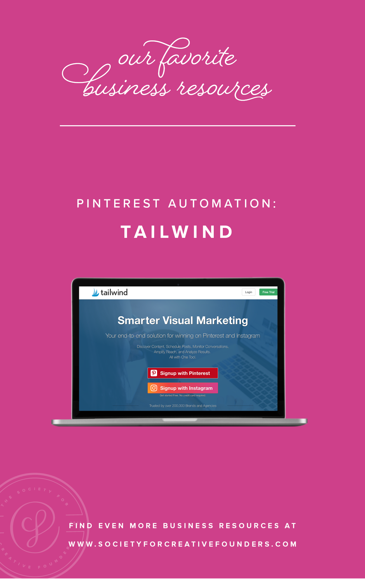 Pinterest Automation with Tailwind - Favorite Business Resources from Society for Creative Founders
