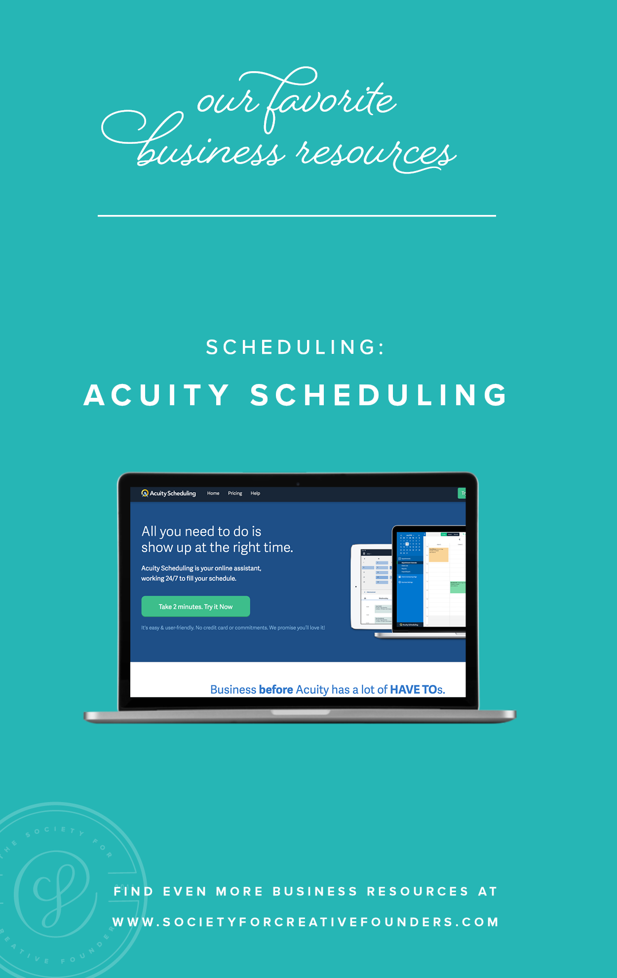 Appointment Scheduling with Acuity - Favorite Business Resources from Society for Creative Founders