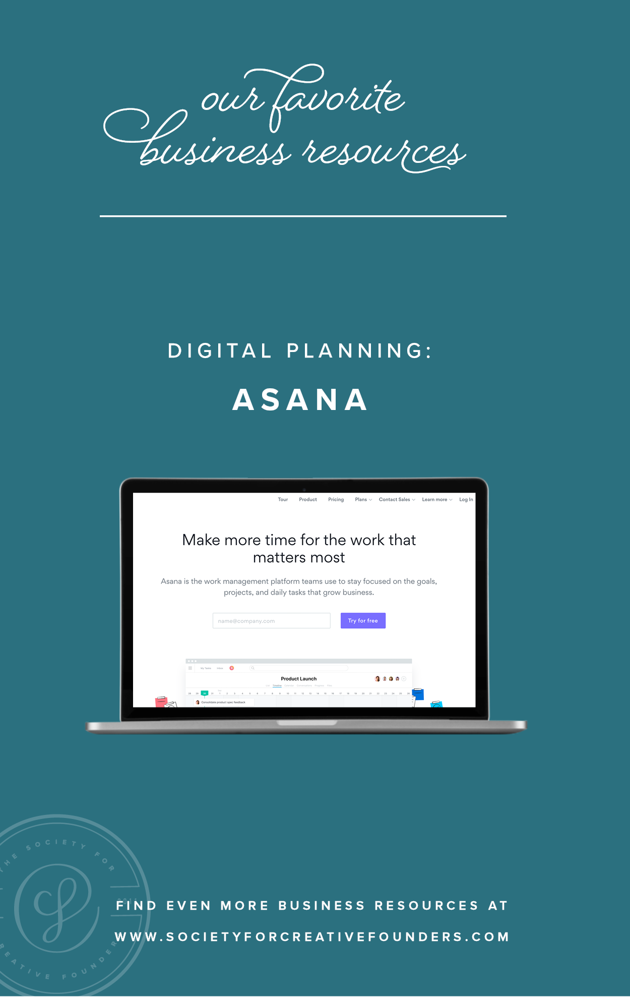 Asana and Digital Planning - Favorite Business Resources from Society for Creative Founders