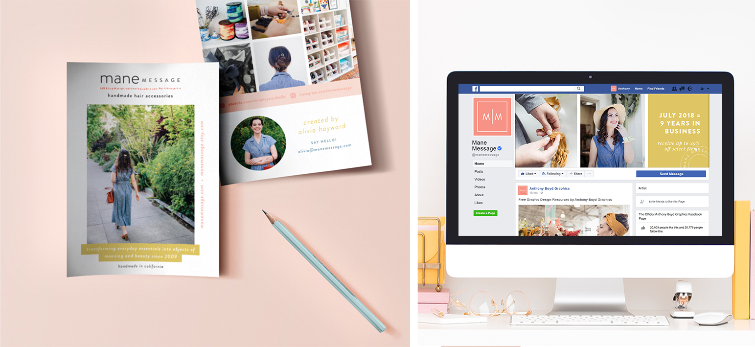 Olivia Hayward of Mane Message, a handmade accessories boutique, does a great job of infusing her visual branding and personality organically into each and every one of her touchpoints in both print and digital.
