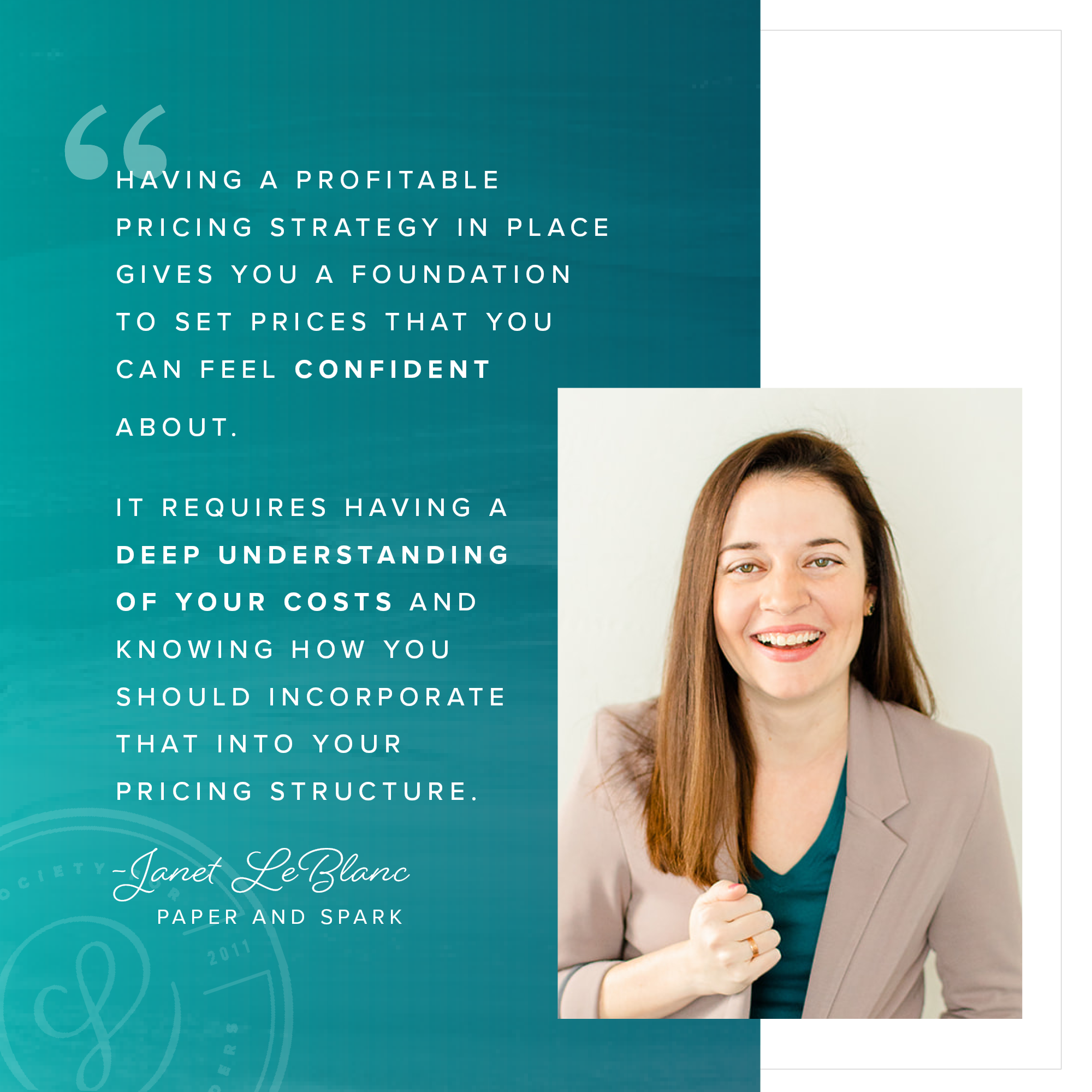 Pricing Strategy - Janet LeBlanc of Paper and Spark