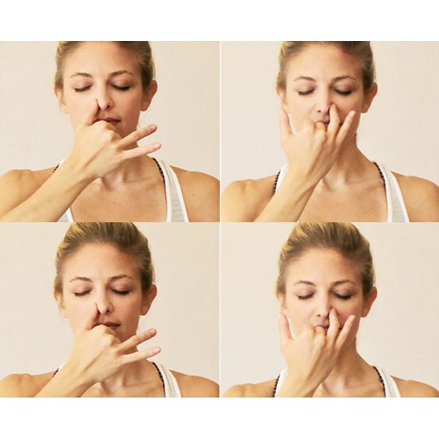 Repost @heidikristoffer who's taking us through her sleep boosting breathing ritual TONIGH! Join us via the link in bio 💤🙏💫 Did you wake up tired because you are having trouble getting your zzzs? Alternate Nostril Breathing / Nadi Shodhana Pranayama is my favorite yoga breathing technique for bed time (or when my nerves or ANXIETY decide to kick in!). It encourages deep relaxation by balancing the left and right sides of the brain while calming the nervous system. . . Try it:  Sit comfortably in or next to your bed (cross-legged, kneeling, propped up on blankets, or any way that feels the best for you), resting your left hand on your left thigh. . . Take your right hand with the fingers extended like you are waving at someone and bend your peace fingers (pointer and middle finger) so they curl into your palm. Rest your right ring finger and thumb on either side of your nostrils, lightly touching them but not constricting. Take a big breath in through your nose, and a big breath out, then close off the right nostril with your thumb and inhale through the left nostril fully for a count of four. At the top of that breath, close off the left nostril with your ring finger, hold and retain the breath for a count of four, and then release the right nostril and exhale for a count of four. . .  Next, inhale deeply for a count of four through the right nostril, close it off, hold and retain the breath for a count of four, and then release the left nostril as you exhale completely through it for a count of four. Proceed to inhale deeply through the left, repeating the cycle. . .  Do this as many rounds as you like, being sure to exhale through the left nostril to complete your last cycle. Once you are done, lie down in bed and drift away! . . For more tips, come to @balanceandbeyondnyc SLEEP event @energilife_ 6p tonight: CBD elixirs optional 😘 . . What's your favorite bedtime ritual? 👇👇