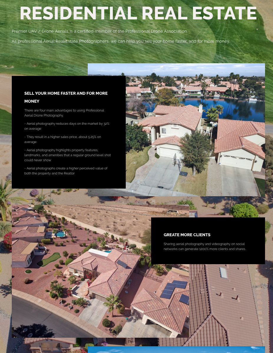 PREMIER DRONE / UAV AERIAL JUST OPENED A RESIDENTIAL REAL ESTATE DEPT.