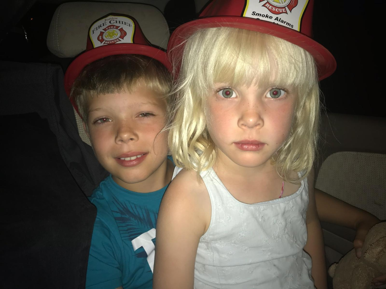 The firefighters were so great and gave the kids a hat! -