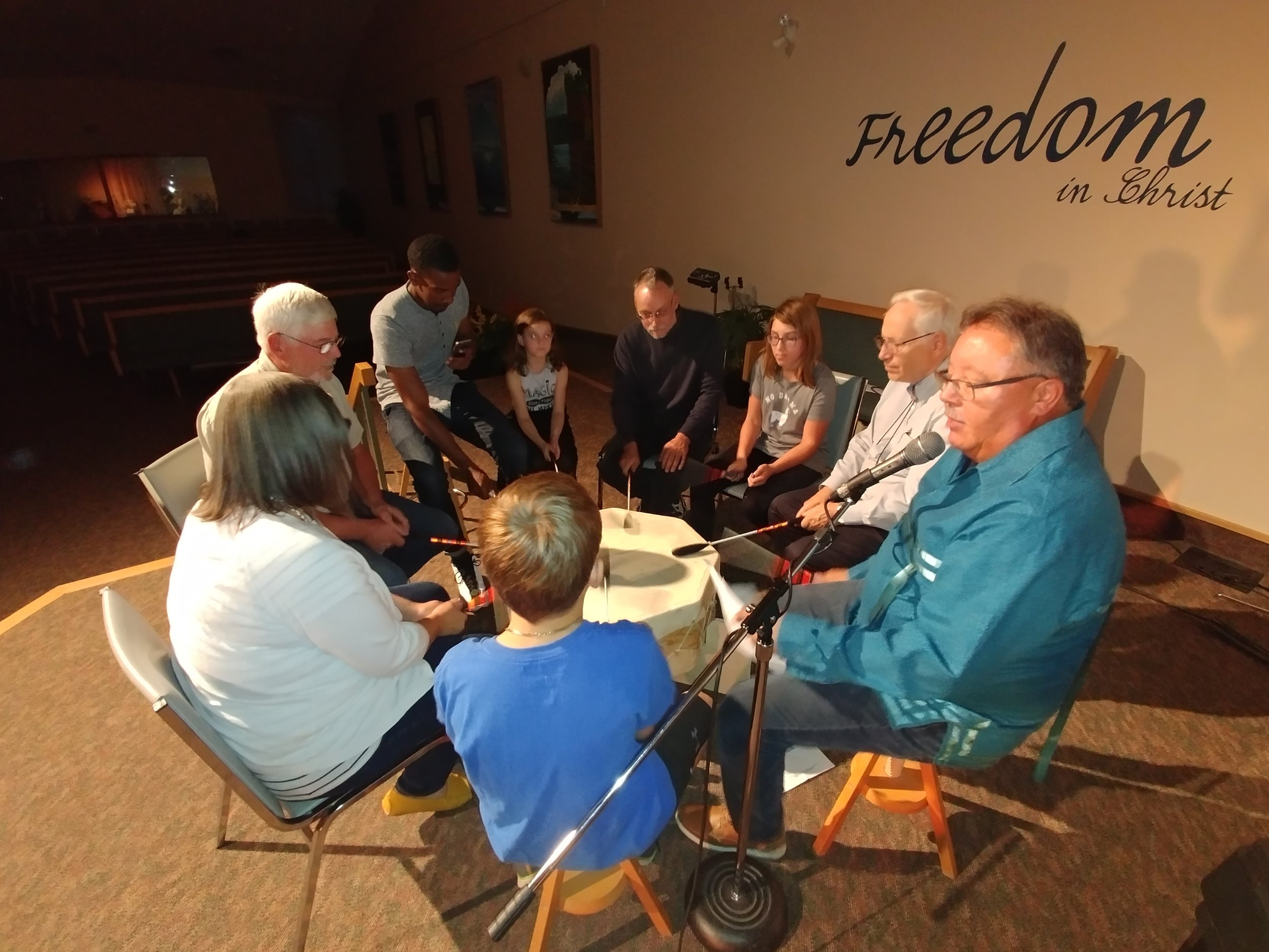 The drumming circle at Covenant CRC.