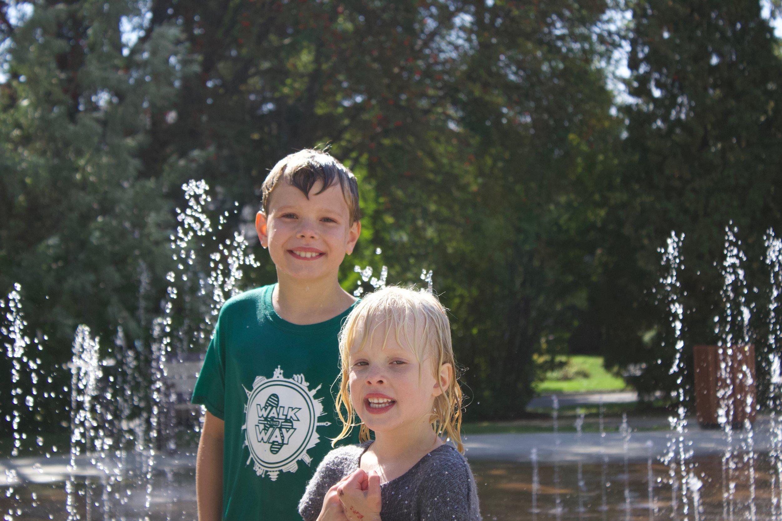 Believe it or not, Isaiah and Kiara in Edmonton a mere week before the snow hit!