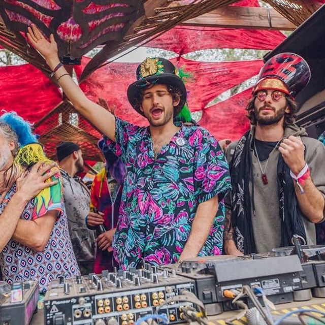 "New music out today on @deserthearts! Check out my track ""At The Edge"" and the other 18 fire tunes on the Family & Friends compilation!! So here's a photo of @mikeylion, @lee_reynolds, and I gooning around at last year's family set."