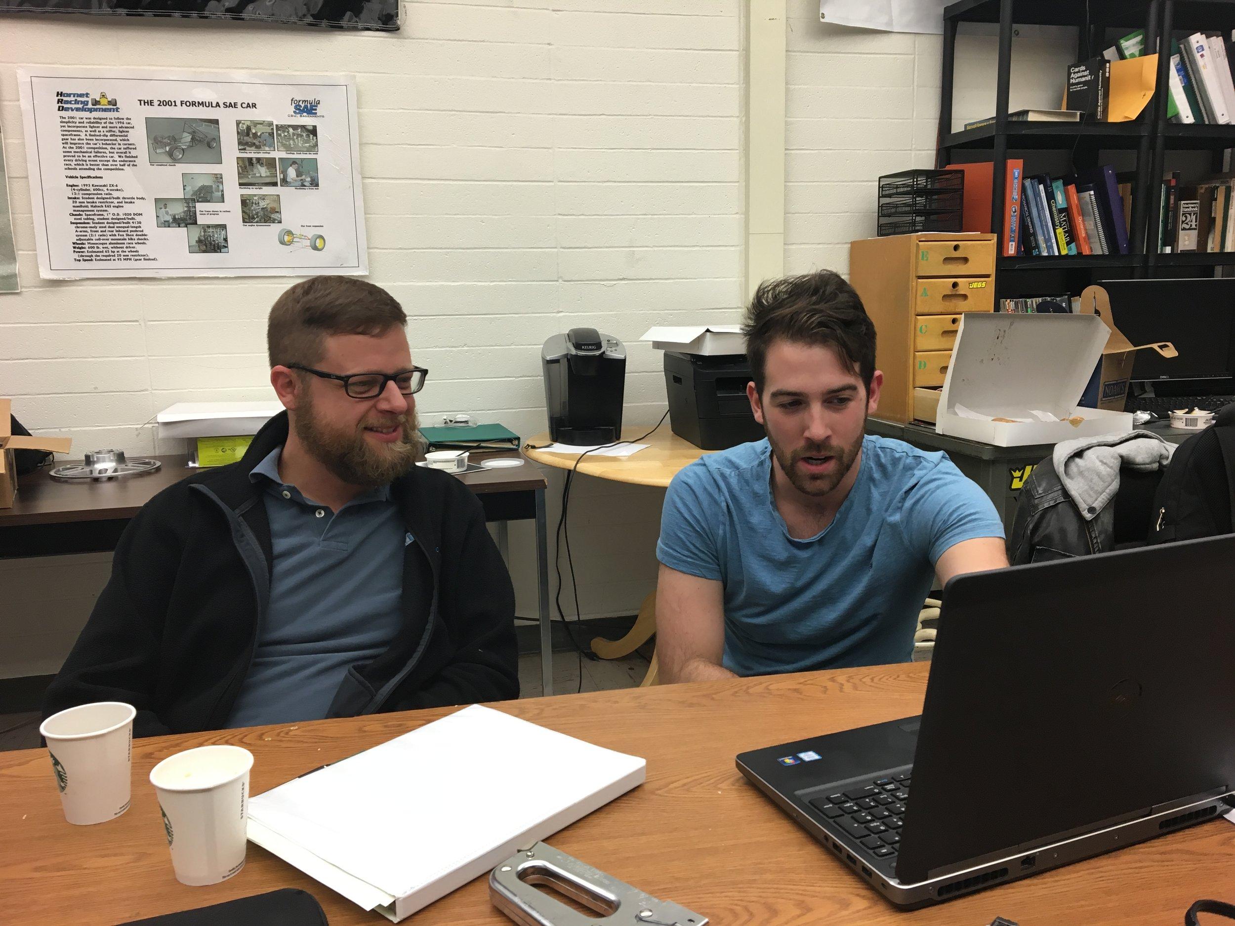 Ron and John discussing intake design