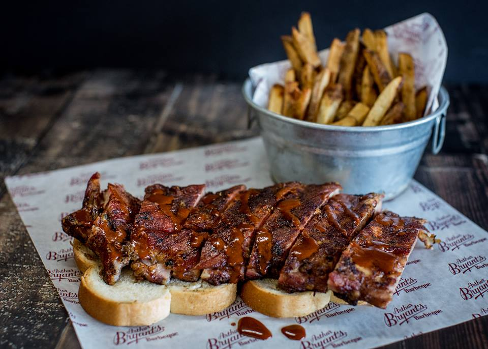 Arthur Bryant's BBQ rib sandwich
