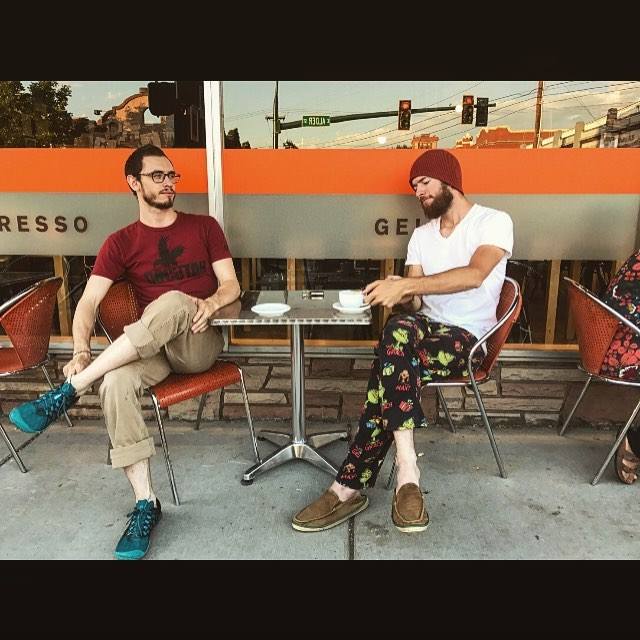 Sound and Stone enjoyed some delicious Affogato's from @colvillestreet patisserie here in beautiful #wallawalla !Go try them out if you haven't already :D  P.S Yes... Bash is wearing the same outfit as in our last two posts... He's nearly about to give #waldo a run for his money for most recognizable threads. ;) -The Brothers . . . . . #soundandstone #soundandstonemusic #affogato #coffee #gelato #brothers #sweatpants #lovethelifeyoulive