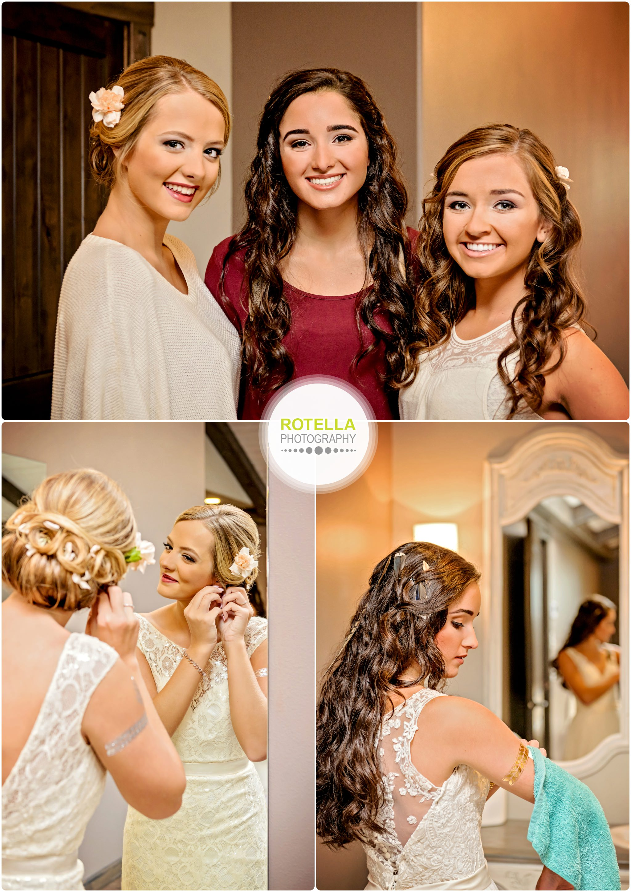 Bride gets ready in bridal suite at Rolling Ridge Wedding and Event Center