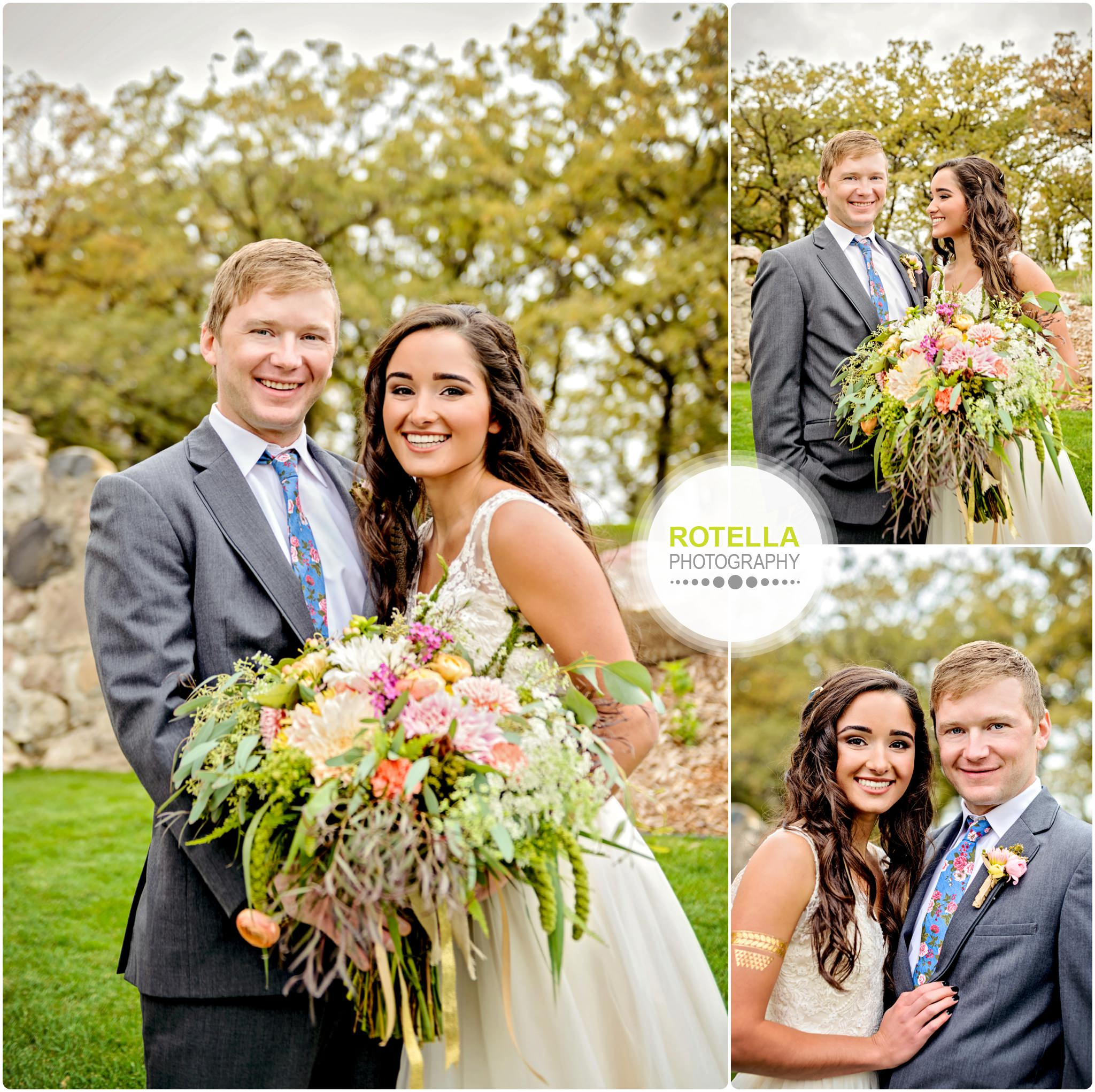 Bride and Groom portraits outside with flowers