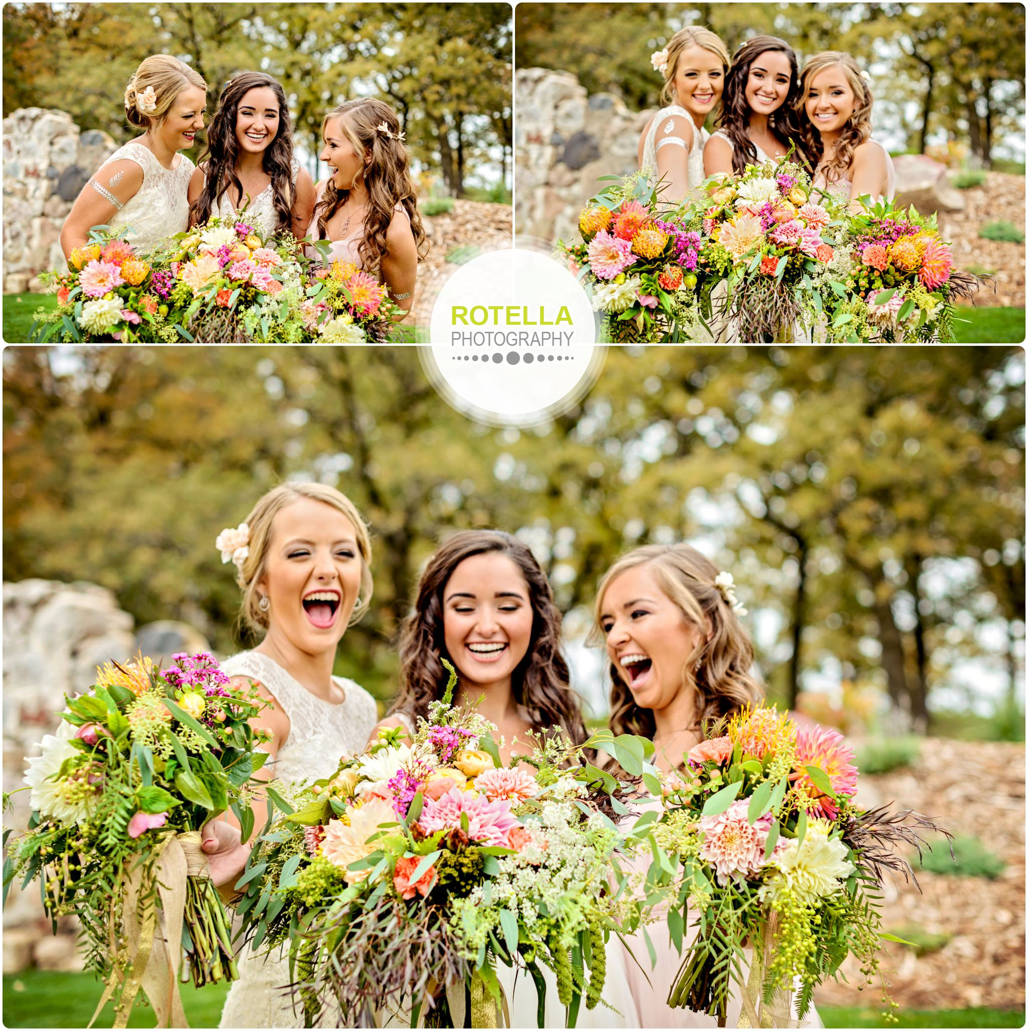 Bride and bridesmaids portraits outside with flowers