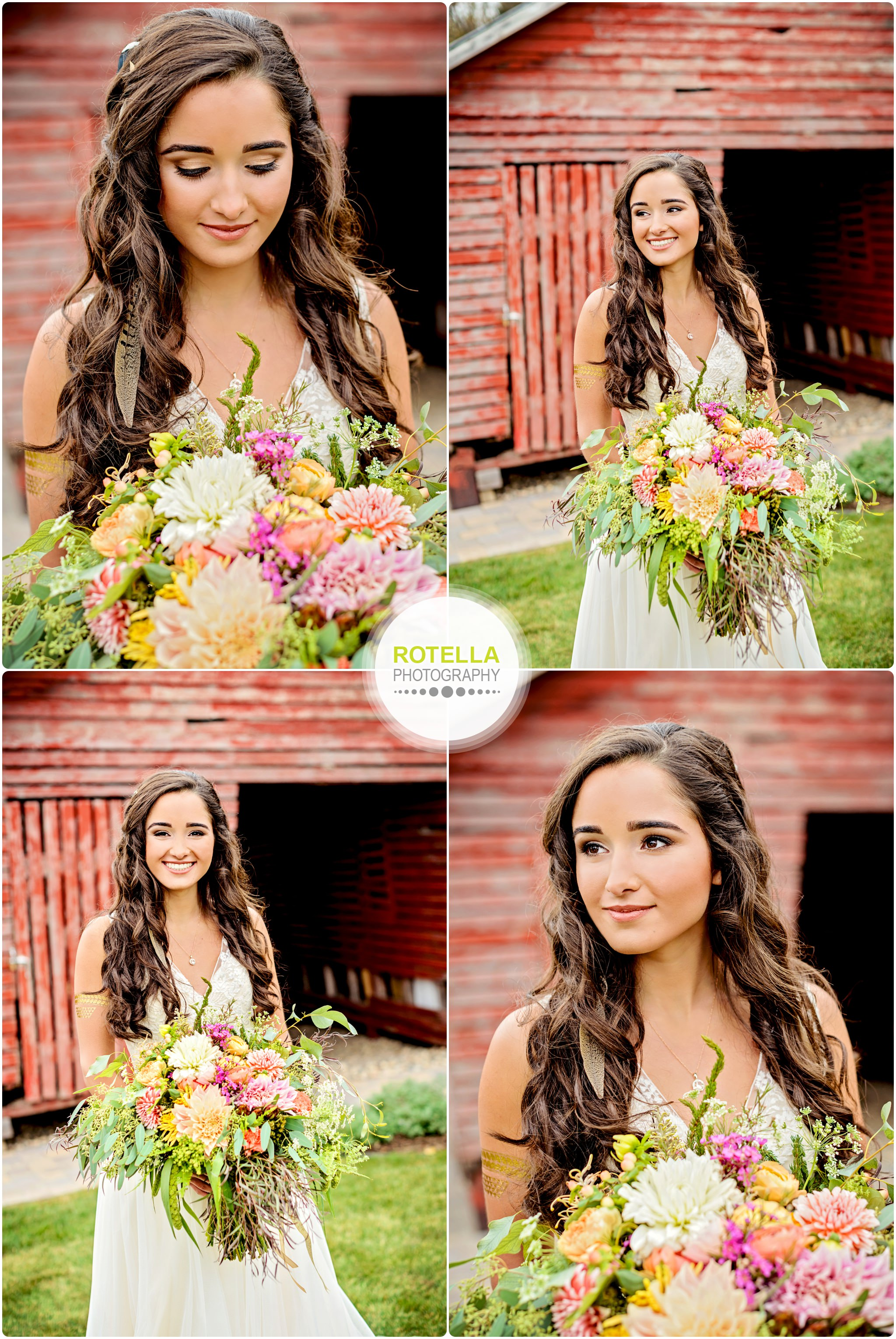 Bride poses in front of barn