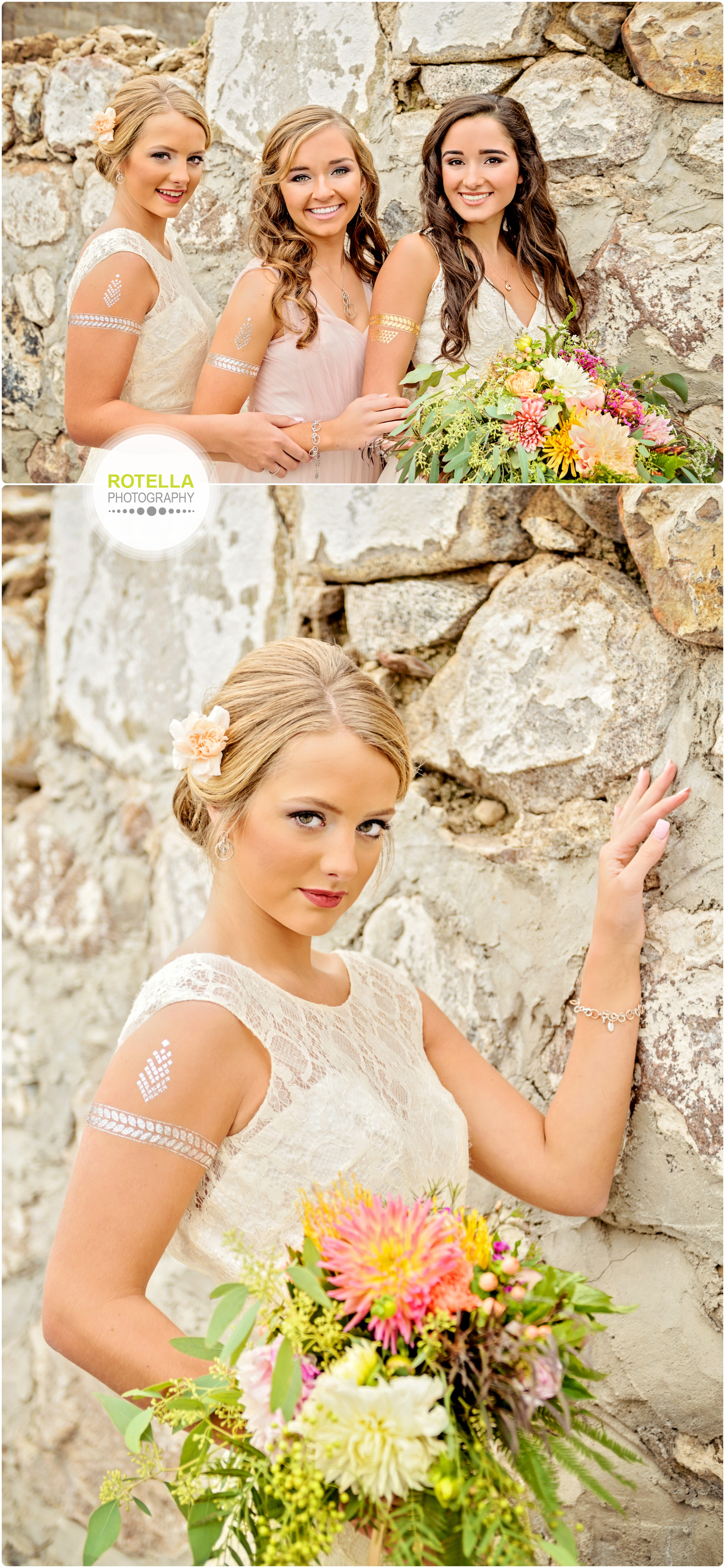 Bridesmaid poses in front of stone wall