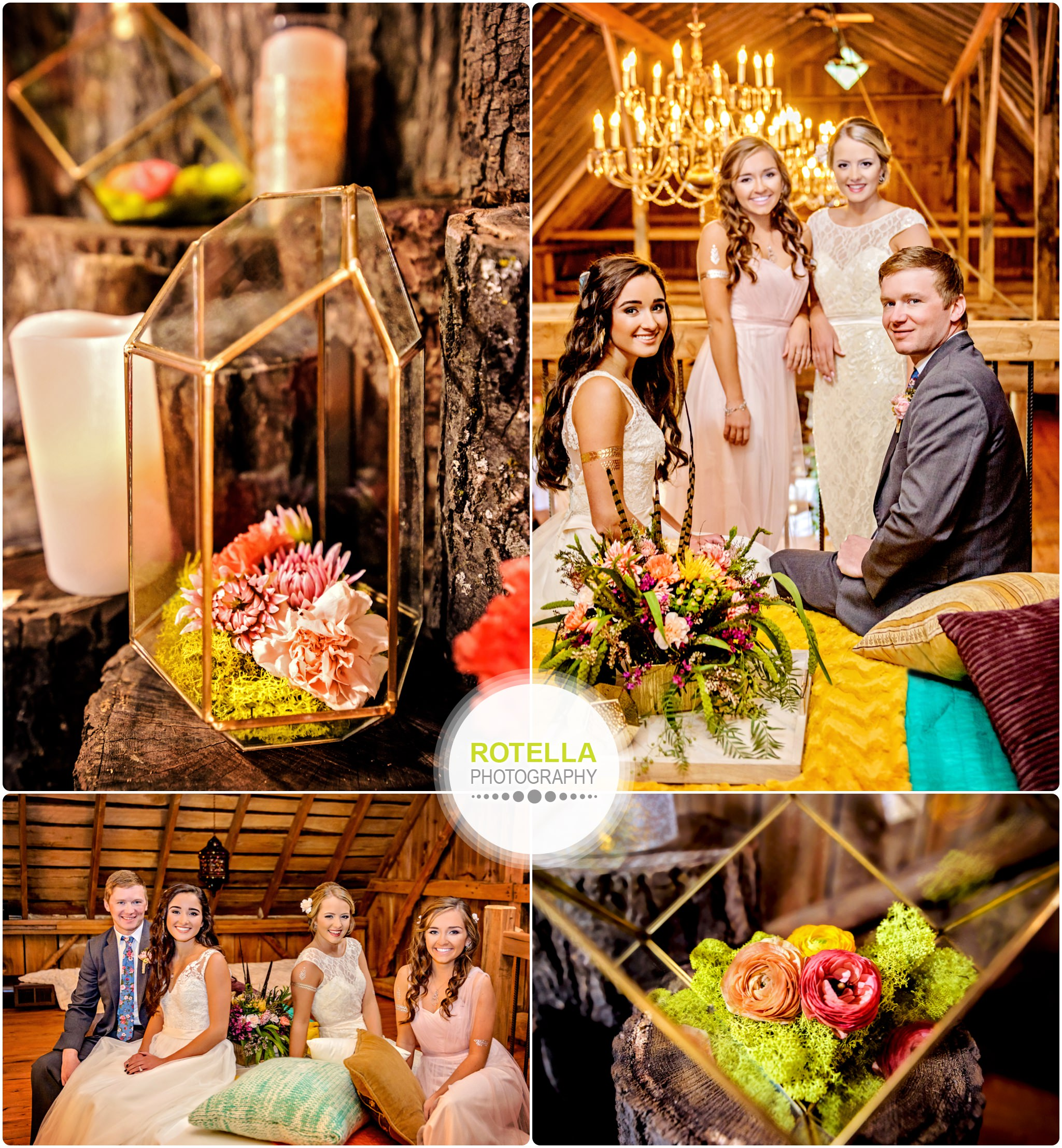 Bridal party inside barn at Rolling Ridge Wedding and Event Center