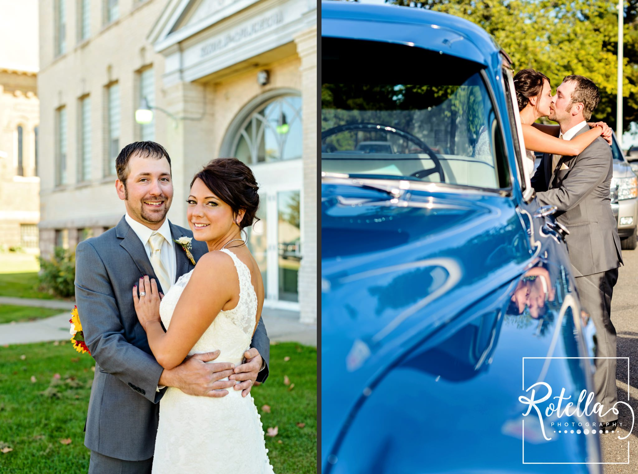 bride and groom in front of school and in antique blue truck