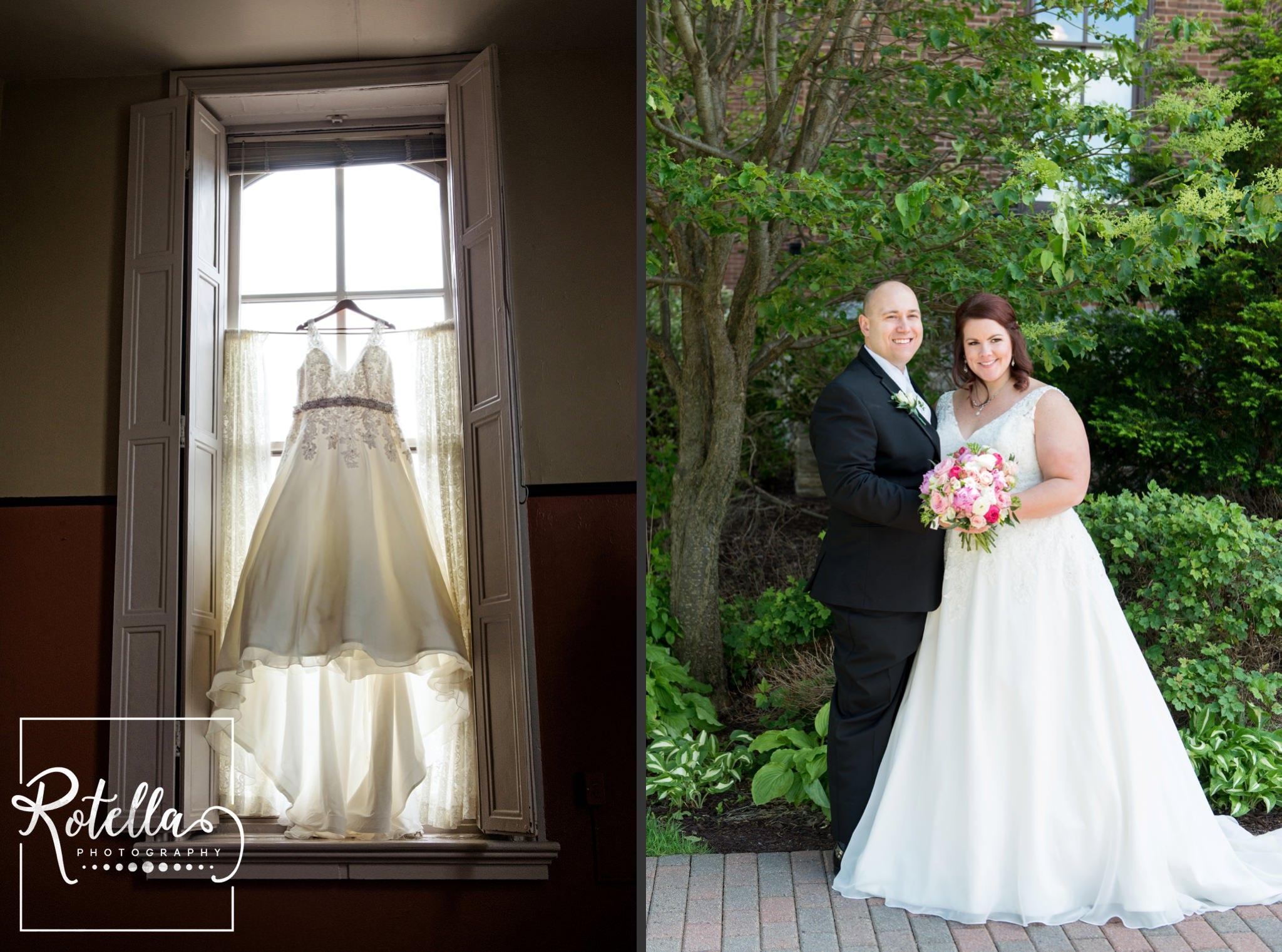 Wedding dress in window, bride and groom by trees