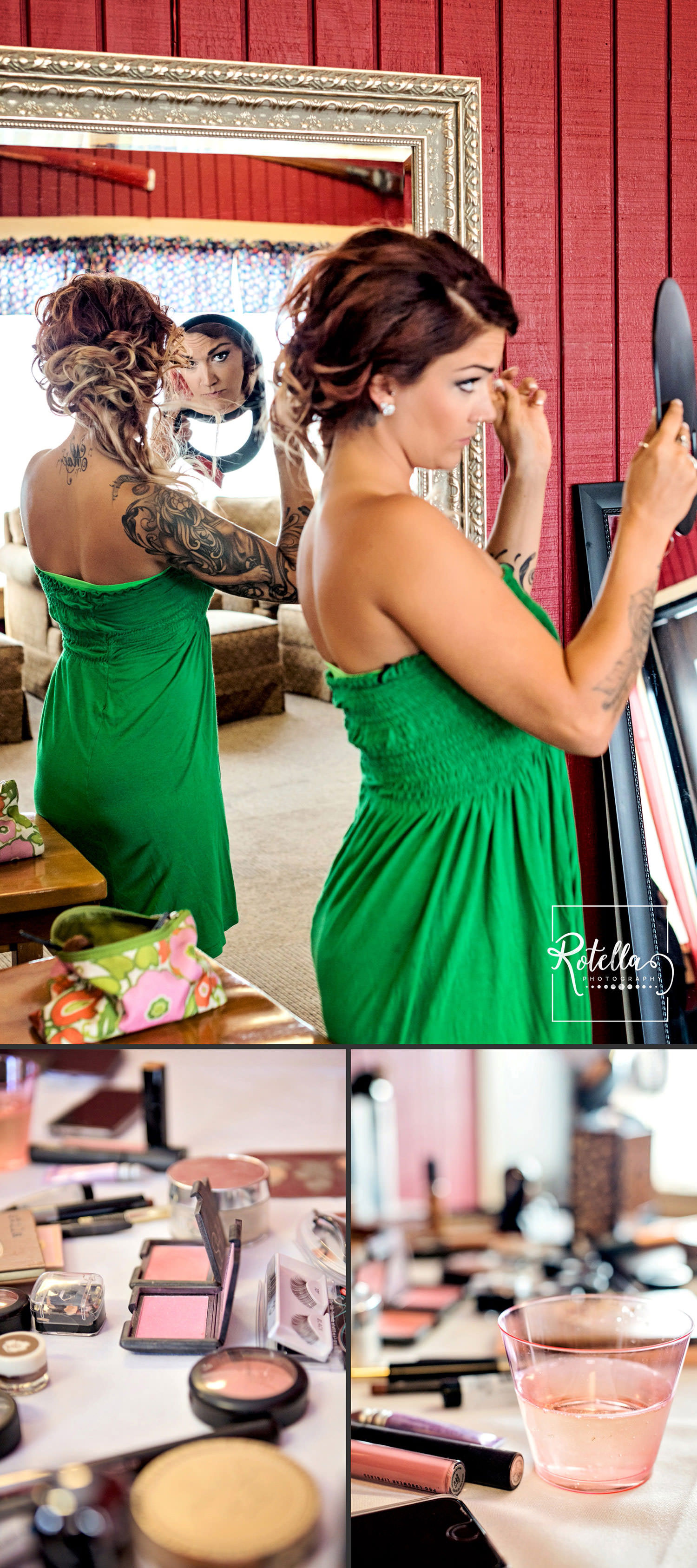 Bridesmaid in green dress putting on makeup by Rotella Photography