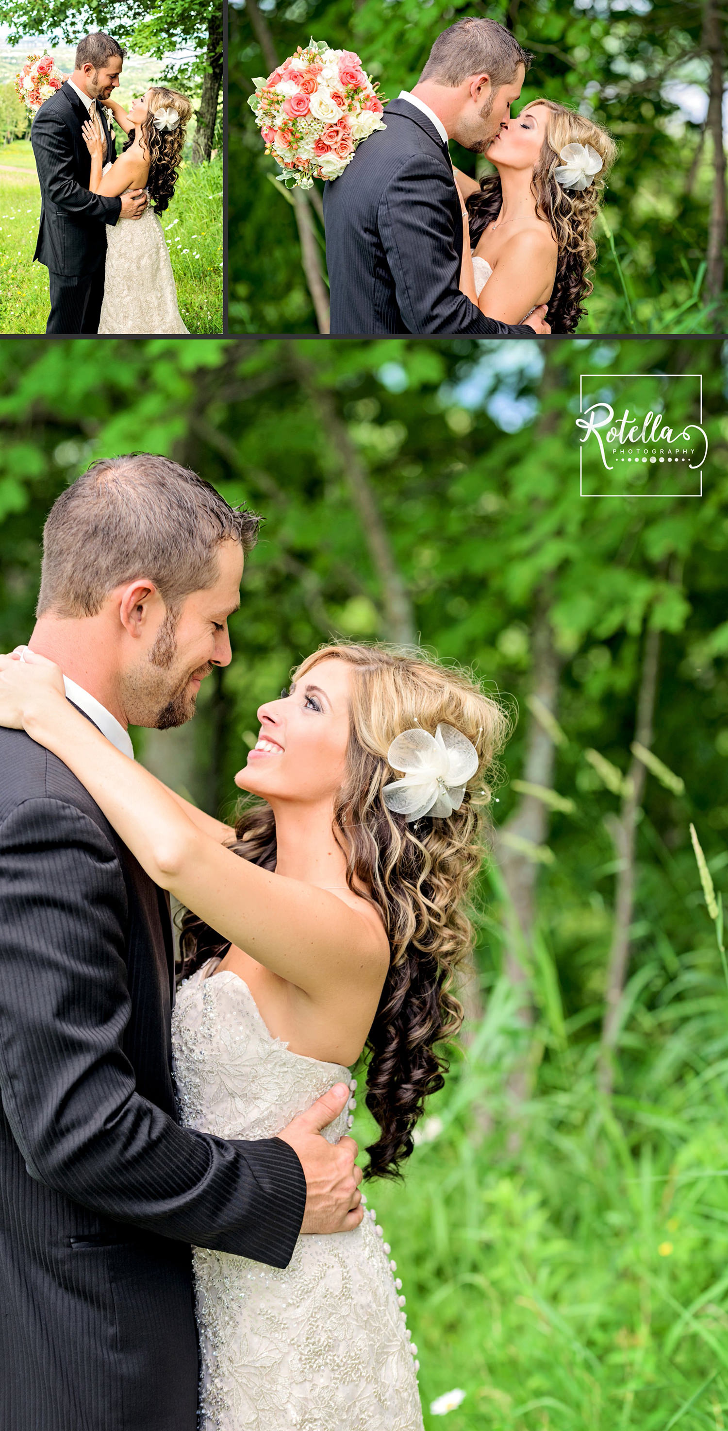 bride and groom on hill in Duluth, MN by Rotella Photography