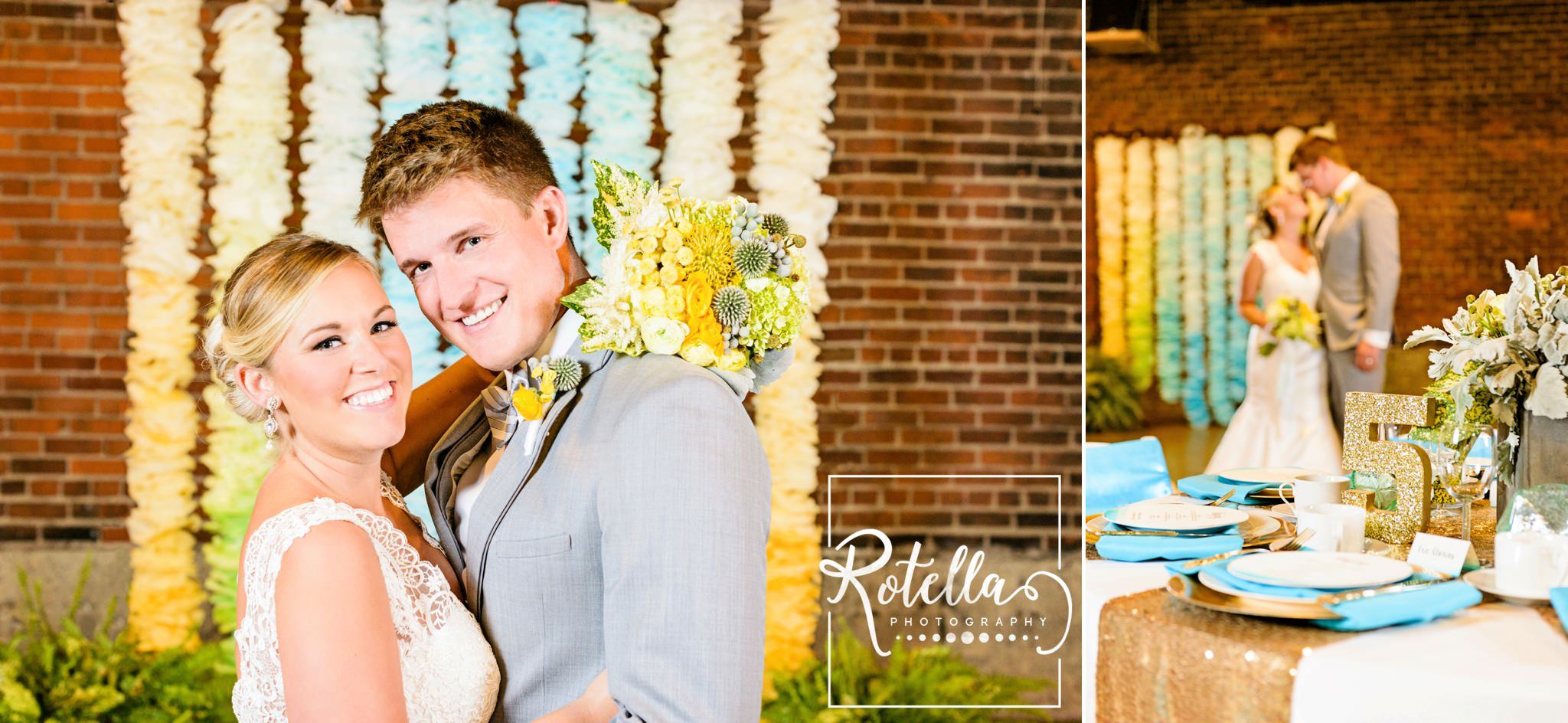 Bride and groom in front of ceremony backdrop