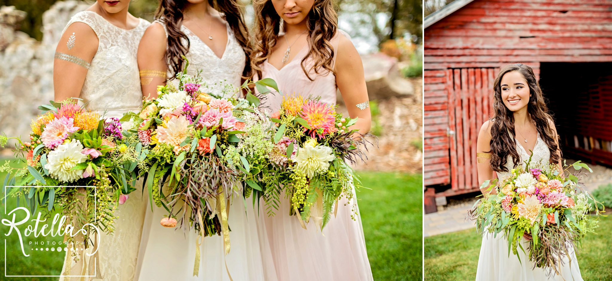 Bride and bridesmaids in front of barn