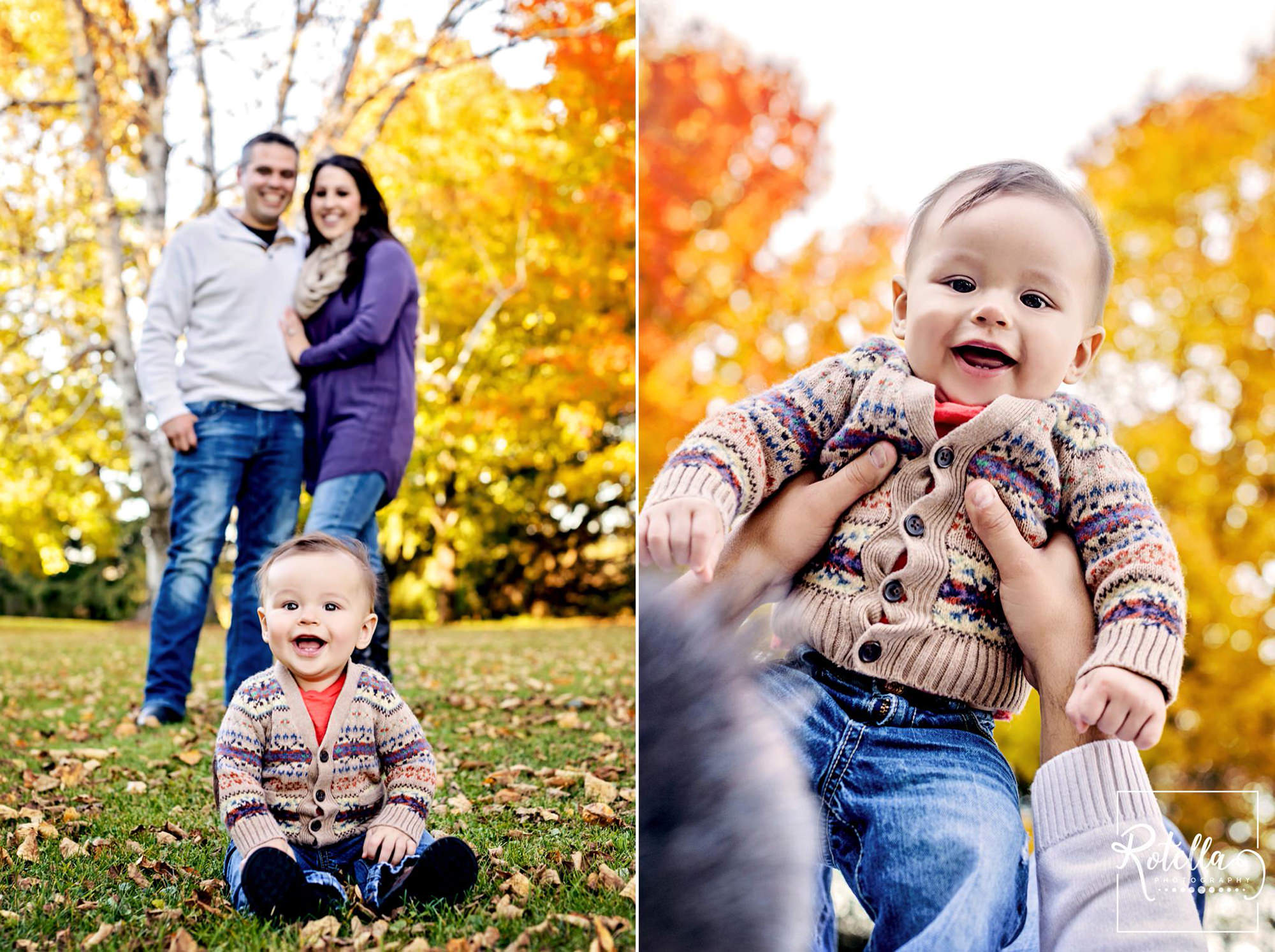 Rotella Photography - Baby and parents sitting outside in fall