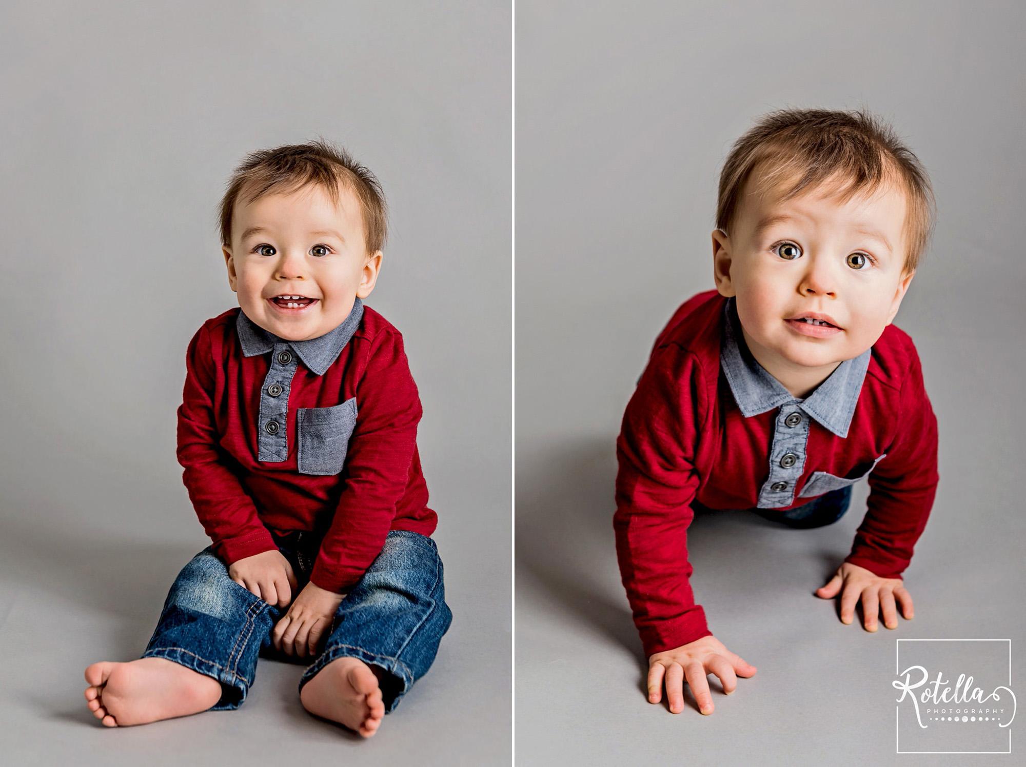 Rotella Photography - baby sitting on grey backdrop