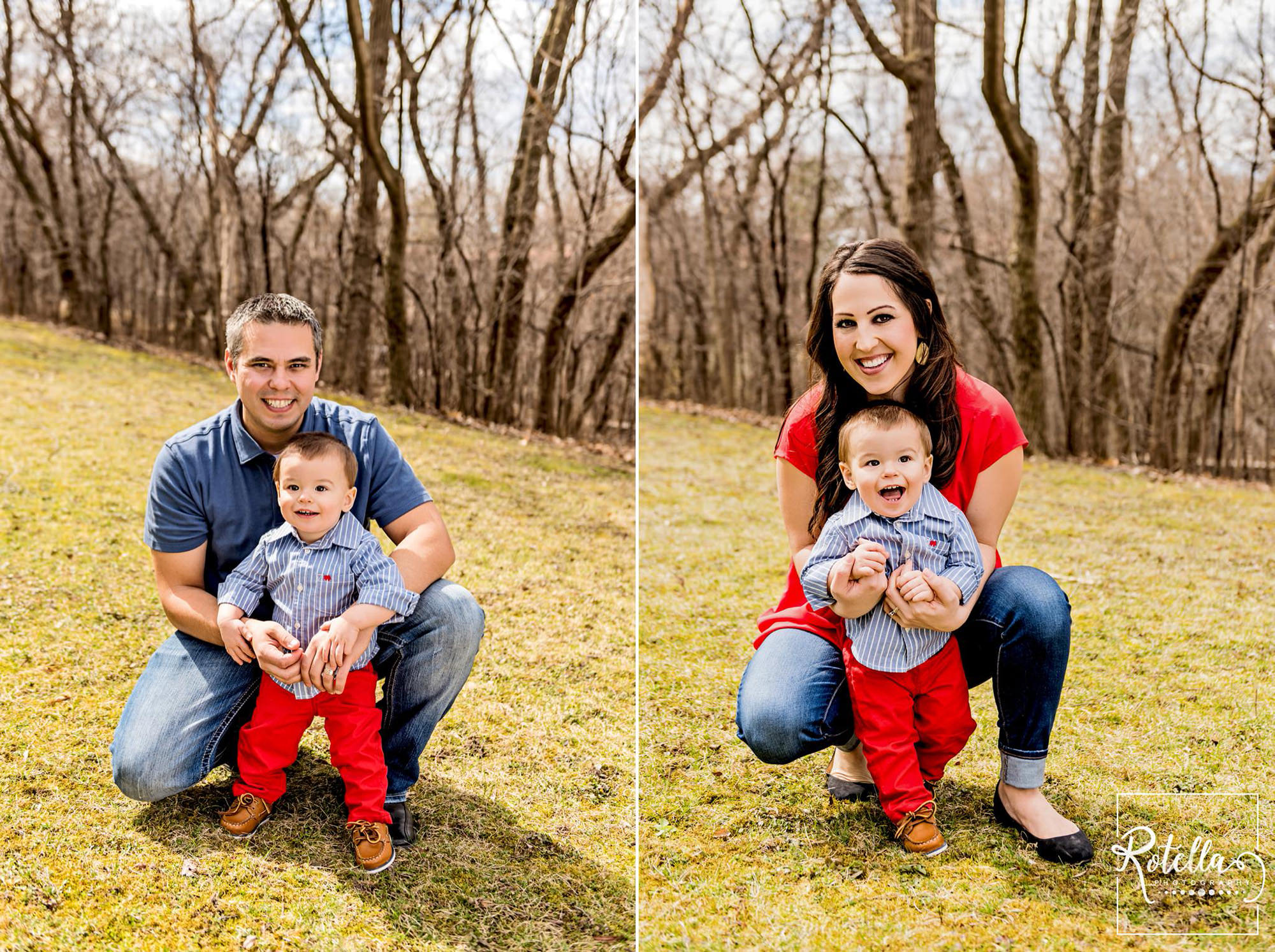 Rotella Photography - mom and dad posed outside in grass with baby