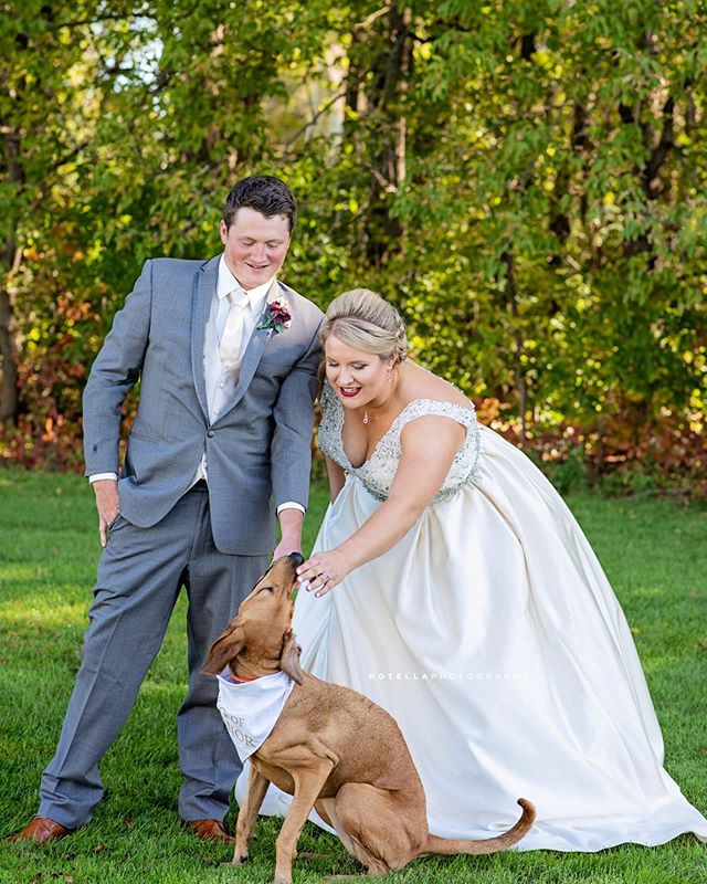 Huuuuge congratulations to Ashley and Ross!!! Your day was one for the books - and we even got a photo with the Dog Of Honor for the nanosecond we had her attention 😆🥰❤️